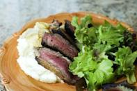 """<p>Use both olive oil and butter together when you fry up this steak. They'll provide just the right amount of sizzle to crisp up the outside of your steak, while also decreasing the smoke factor.</p><p><strong><a href=""""https://www.thepioneerwoman.com/food-cooking/recipes/a9744/pan-fried-ribeye-steak-heaven-in-a-skillet/"""" rel=""""nofollow noopener"""" target=""""_blank"""" data-ylk=""""slk:Get the recipe"""" class=""""link rapid-noclick-resp"""">Get the recipe</a>.</strong></p><p><a class=""""link rapid-noclick-resp"""" href=""""https://go.redirectingat.com?id=74968X1596630&url=https%3A%2F%2Fwww.walmart.com%2Fbrowse%2Fhome%2Fthe-pioneer-woman-cookware%2F4044_623679_6182459_9190581&sref=https%3A%2F%2Fwww.thepioneerwoman.com%2Ffood-cooking%2Fmeals-menus%2Fg35191871%2Fsteak-dinner-recipes%2F"""" rel=""""nofollow noopener"""" target=""""_blank"""" data-ylk=""""slk:SHOP COOKWARE"""">SHOP COOKWARE</a></p>"""