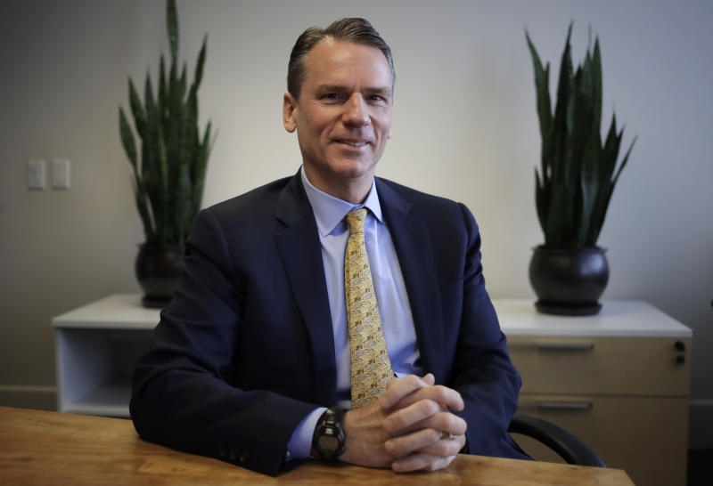 In this Friday, Dec. 20, 2019 photo, San Francisco real estate developer Alastair Mactaggart poses in Oakland, Calif. With help, Mactaggart produced a ballot initiative that would let California voters implement new privacy rules. Although initially a long shot, the proposal quickly gained steam amid news of huge data breaches and privacy leaks. (AP Photo/Ben Margot)