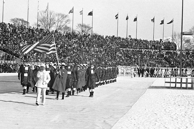 The team of the United State of America for the Winter Olympic Games march into the arena of the Makomanai Stadium at start of the colorful opening ceremonies, Thursday, Feb. 3, 1972, Sapporo, Japan. (AP Photo)