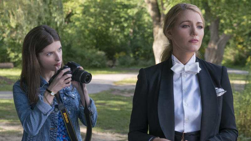 """This image released by Lionsgate shows Anna Kendrick, left, and Blake Lively in a scene from """"A Simple Favor."""" (Peter Iovino/Lionsgate via AP)"""