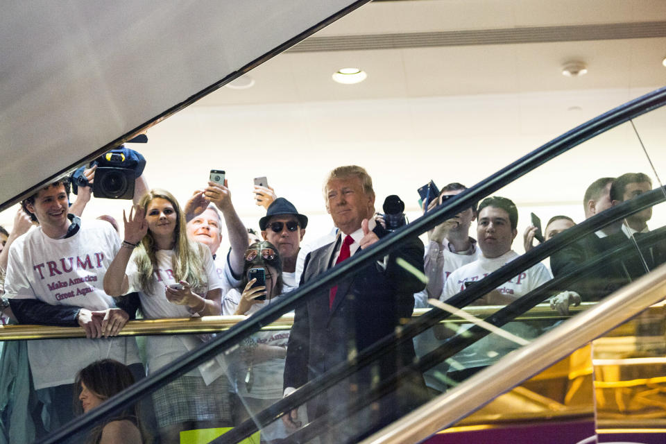 NEW YORK, NY - JUNE 16:   Business mogul Donald Trump rides an escalator to a press event to announce his candidacy for the U.S. presidency at Trump Tower on June 16, 2015 in New York City.  Trump is the 12th Republican who has announced running for the White House.  (Photo by Christopher Gregory/Getty Images)
