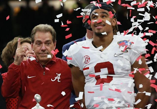 Celebrate, Nick Saban. You're going to another big game. (Getty)