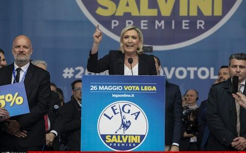 Marine Le Pen, president of the far-Right French National Rally, delivers speech in Milan alongside 10 European party leaders on Saturday  - Credit: Emanuele Cremaschi /Getty Images