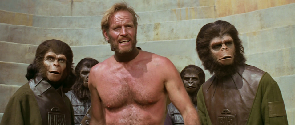 Charlton Heston's astronaut finds himself stranded in a dystopian future earth, inhabited by apes (20th Century Fox)
