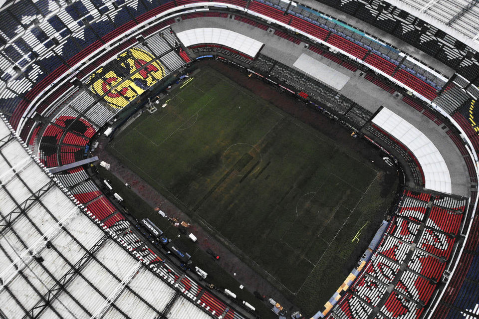 While fans are fuming over sunk travel costs, Mexico City is dealing with shame of bumbling a high-profile NFL game over field maintenance. (Getty)