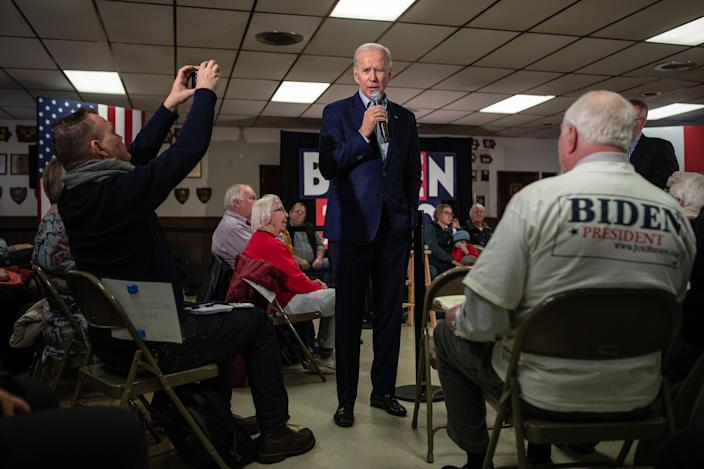Former Vice President Joe Biden campaigns at a VFW post in Osage, Iowa, Jan. 22, 2020. (Tamir Kalifa/The New York Times)