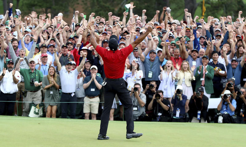 Tiger Woods reacts as he wins the Masters golf tournament Sunday, April 14, 2019, in Augusta, Ga. (Curtis Compton/Atlanta Journal-Constitution via AP)