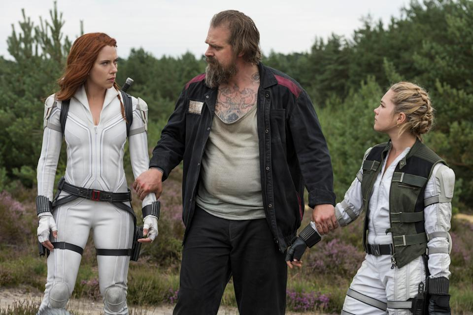 A family of sorts: Johansson with David Harbour and Pugh (AP)