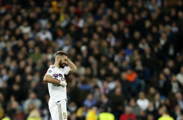Real Madrid's Karim Benzema reacts during the Champions League, round of 16, first leg soccer match between Real Madrid and Manchester City at the Santiago Bernabeu stadium in Madrid, Spain, Wednesday, Feb. 26, 2020. (AP Photo/Manu Fernandez)