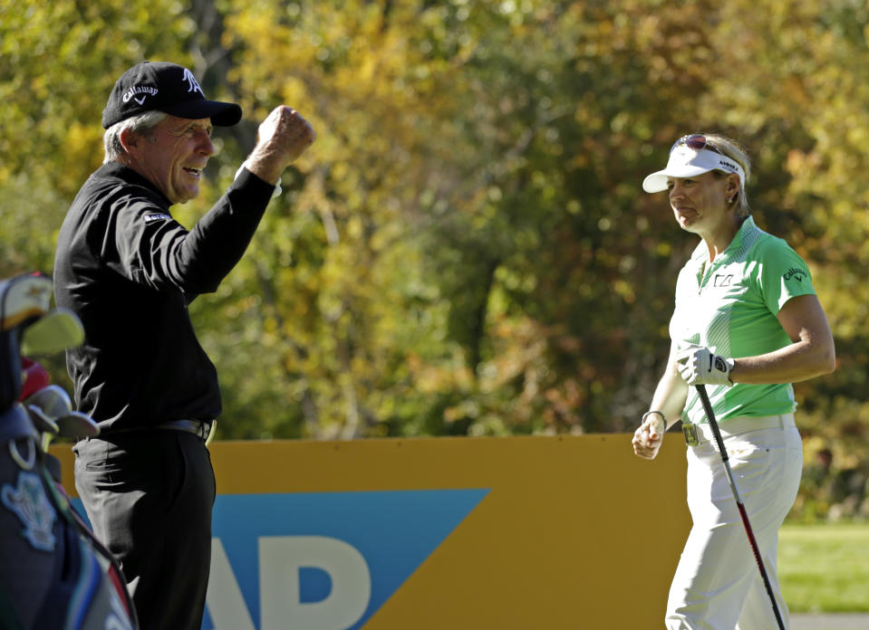 Gary Player reacts after hitting a longer tee shot then Annika Sorenstam on the 15th hole during the Berenberg Gary Player Invitational Pro-Am held at GlenArbor Golf Club on October 12, 2015 in Bedford Hills, New York. (Photo by Adam Hunger/Getty Images)