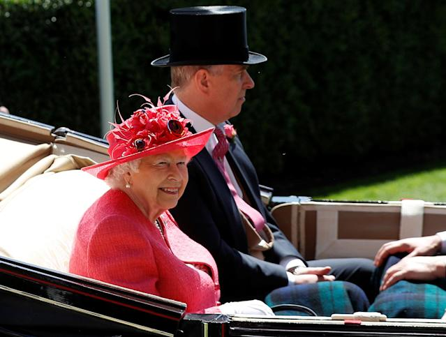 Horse Racing - Royal Ascot - Ascot Racecourse, Ascot, Britain - June 21, 2018 Britain's Queen Elizabeth and Prince Andrew arrive during the carriage procession before the start of the racing REUTERS/Peter Nicholls