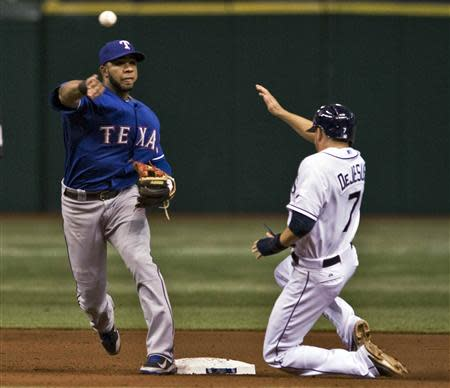 Texas Rangers shortstop Elvis Andrus (L) forces out Tampa Bay Rays baserunner David DeJesus (7) at second base and throws to first to complete a double play during the fifth inning of their MLB American League baseball game in St. Petersburg, Florida, September 17, 2013. REUTERS/Steve Nesius