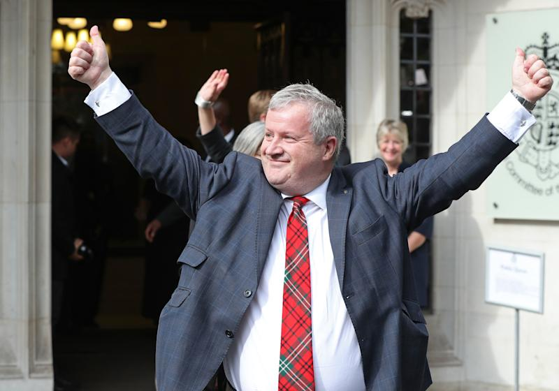 SNP Westminster leader Ian Blackford MP leaving the Supreme Court in London, where judges have ruled that Prime Minister Boris Johnson's advice to the Queen to suspend Parliament for five weeks was unlawful.