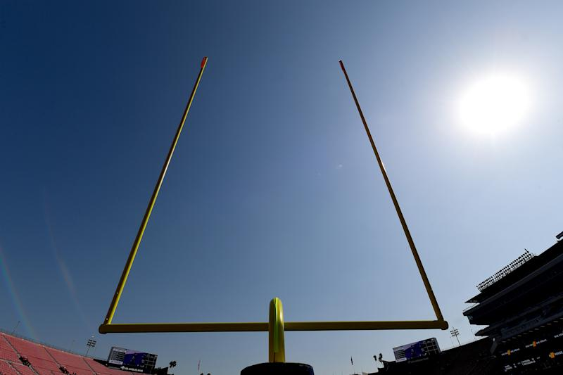LOS ANGELES, CA - OCTOBER 13: General view of the goal posts on the field at the Los Angeles Memorial Coliseum for the game between the Los Angeles Rams and the San Francisco 49ers on October 13, 2019 in Los Angeles, California. (Photo by Jayne Kamin-Oncea/Getty Images)