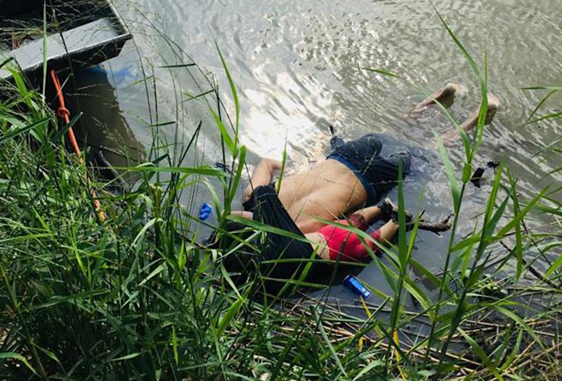 View of the bodies of Salvadoran migrant Óscar Martínez Ramírez and his daughter, who drowned while trying to cross the Rio Grande -on their way to the U.S.- in Matamoros, state of Tamaulipas on June 24, 2019. | STR—AFP/Getty Images