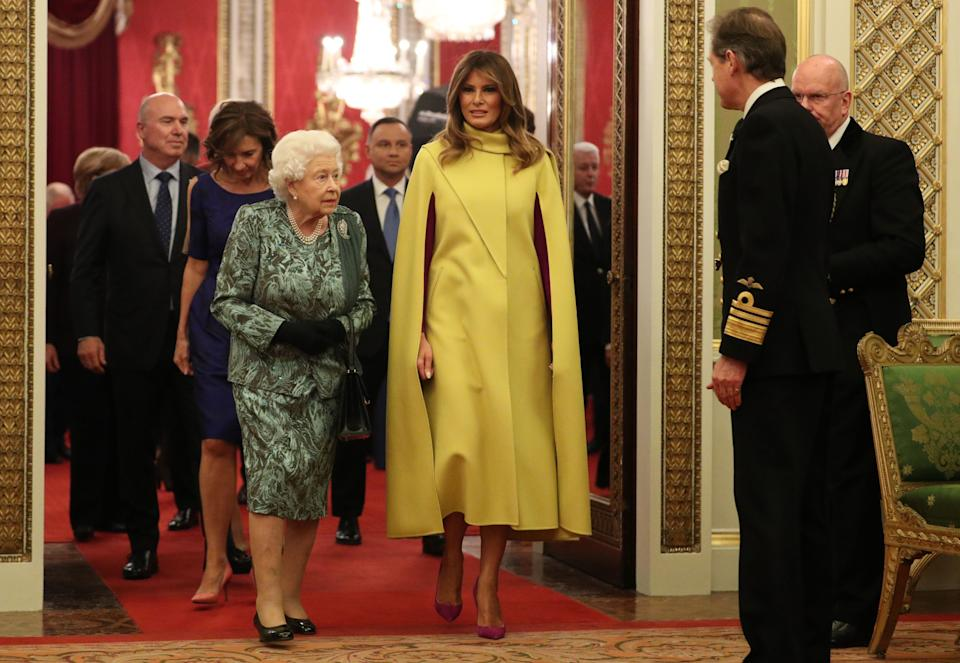 Britain's Queen Elizabeth II speaks with US First Lady Melania Trump in Buckingham Palace in central London on December 3, 2019, during a reception hosted by Britain's Queen Elizabeth II ahead of the NATO alliance summit.