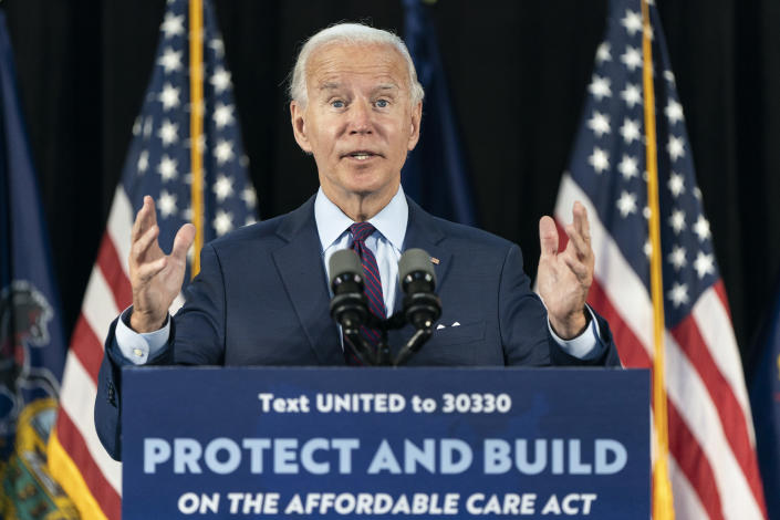 Joe Biden speaks during an event about affordable healthcare at the Lancaster Recreation Center on June 25, 2020 in Lancaster, Pennsylvania. (Joshua Roberts/Getty Images)