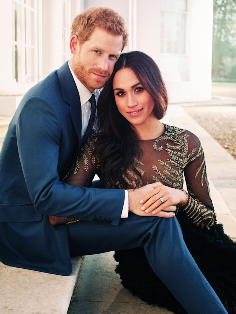 Prince Harry and Meghan Markle pose for one of two official engagement photos at Frogmore House in December, 2017 in Windsor, United Kingdom. Source: Getty