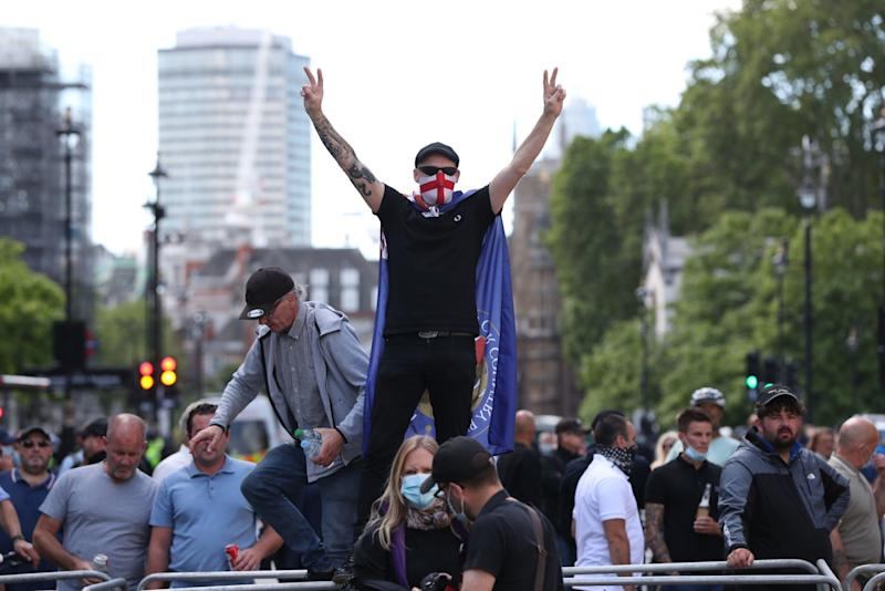 A protester in central London (PA)