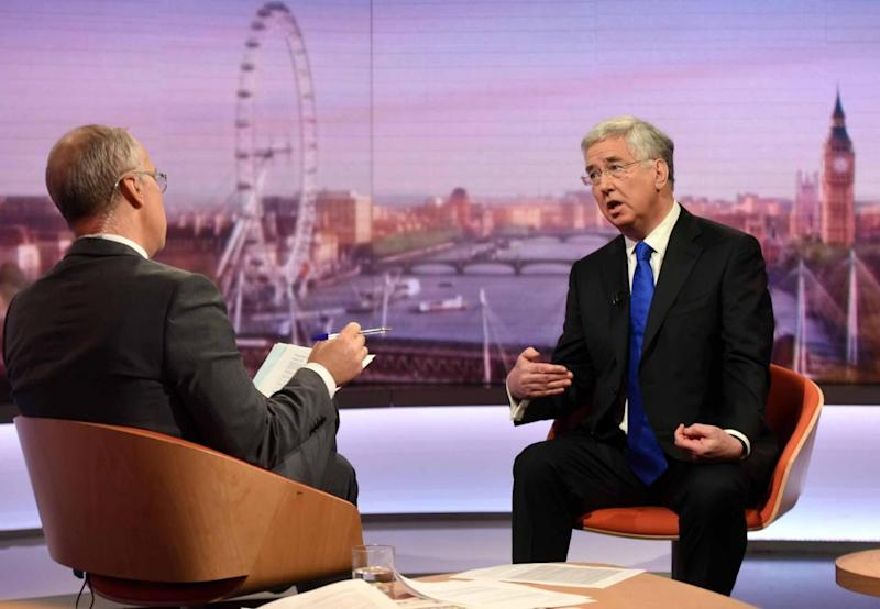 Michael Fallon speaks to the Andrew Marr show (PA)