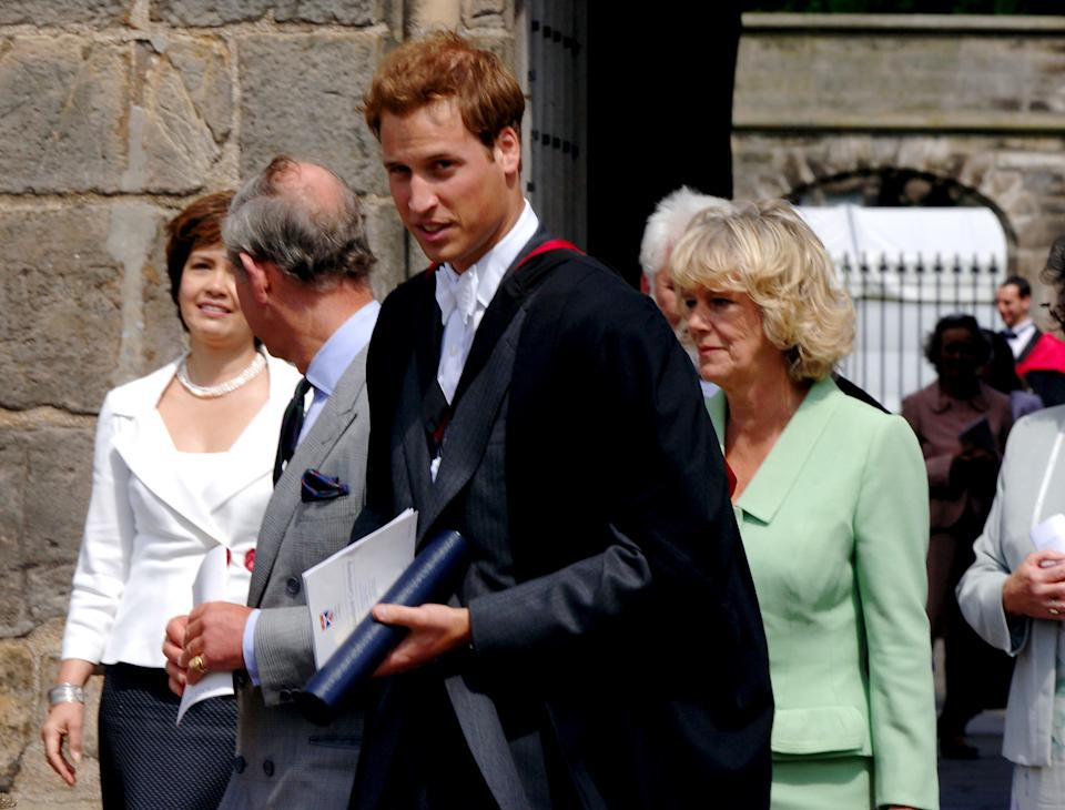 FIFE, SCOTLAND - JUNE 23: Prince William with his father, Prince Charles, and the Duchess of Cornwall leave William's  graduation ceremony at the University Of St Andrews on June 15, 2005 in St Andrew's, Scotland. The Prince  receives his 2:1 Master Of Arts (Honours) Degree in Geography at Scotland's oldest university, marking the end of his university education. (Photo by Anwar Hussein )