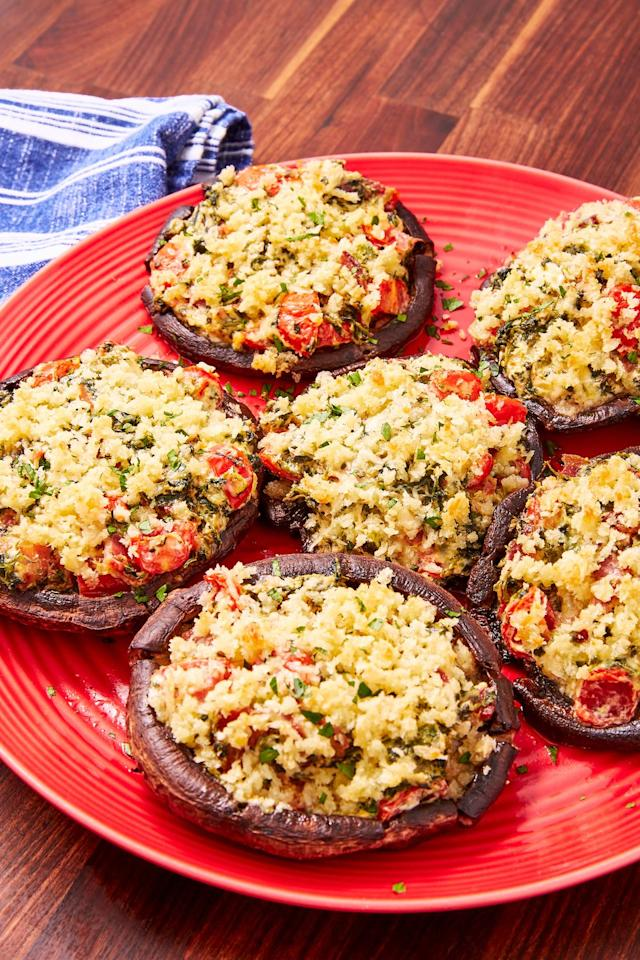 "<p>Cream cheese, bacon, and spinach...what could be better?</p><p>Get the recipe from <a href=""https://www.delish.com/cooking/recipe-ideas/a28581055/stuffed-portobello-mushrooms-recipe/"" target=""_blank"">Delish</a>.</p>"
