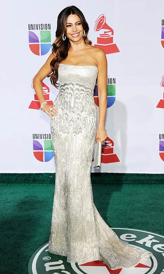 """""""Modern Family's"""" Sofia Vergara sparkled in a Reem Acra gown and jewelry from her Kmart fashion line. """"OMG so many cute guys at the Latin Grammys!"""" she tweeted. (11/10/2011)"""