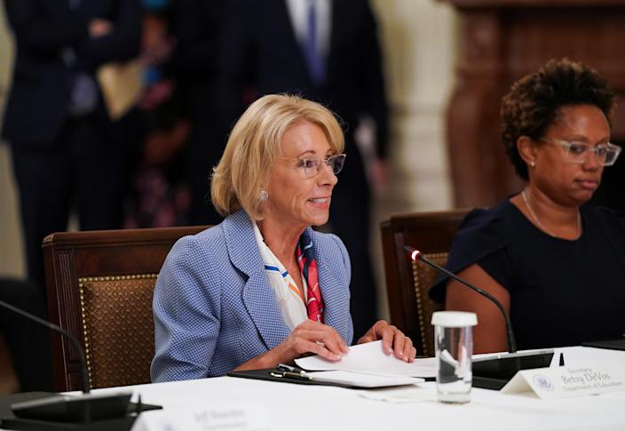 U.S. Education Secretary Betsy Devos attends an event on reopening schools amid the coronavirus disease (COVID-19) pandemic in the East Room at the White House in Washington, U.S., July 7, 2020. (Kevin Lamarque/Reuters)