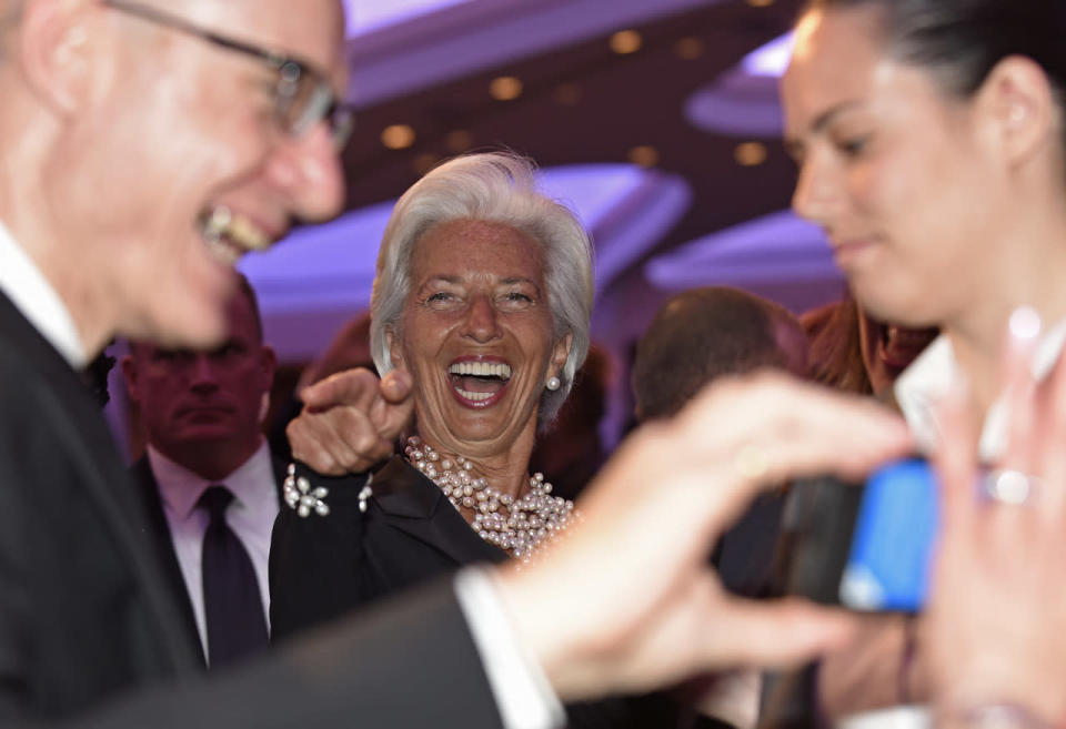<p>International Monetary Fund managing director Christine Lagarde, center, has a laugh at the annual White House Correspondents' Dinner, April 30. <i>(Photo: Susan Walsh/AP)</i></p>