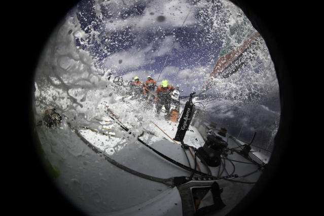 AT SEA - JUNE 11: Groupama Sailing Team reaching towards The Azores, during leg 8 of the Volvo Ocean Race 2011-12 at sea on June 11, 2012 from Lisbon, Portugal to Lorient, France. (Photo by Yann Riou/Groupama Sailing Team/Volvo Ocean Race via Getty Images)