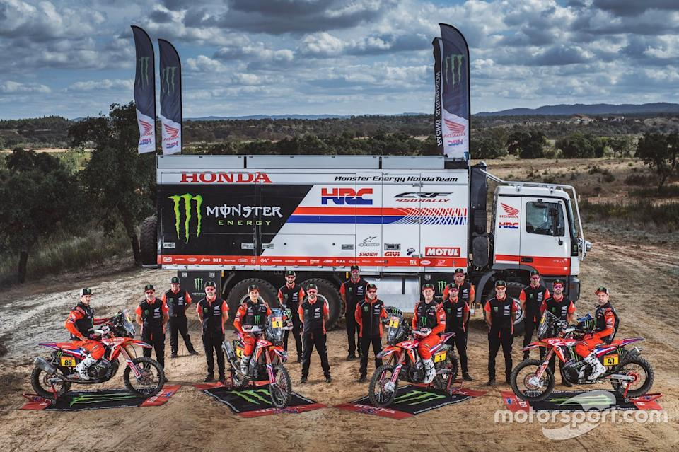 "#1 Monster Energy Honda Team: Ricky Brabec, #4 Monster Energy Honda Team: Jose Ignacio Cornejo Florimo, #47 Monster Energy Honda Team: Kevin Benavides, #88 Monster Energy Honda Team: Bort Joan Barreda<span class=""copyright"">Monster Energy Honda Team</span>"