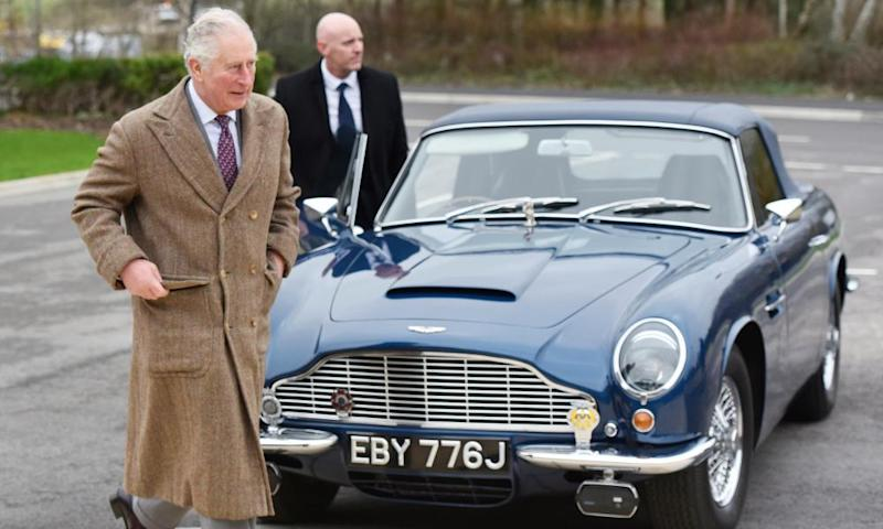Prince Charles with his own Aston Martin Volante – a present from the Queen for his 21st birthday.