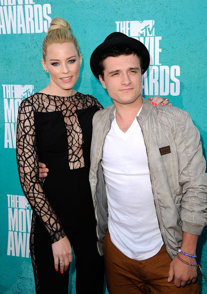 Elizabeth Banks and Josh Hutcherson arrives at the 2012 MTV Movie Awards.