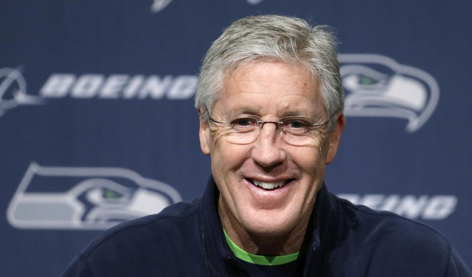 Seattle Seahawks head coach Pete Carroll speaks at an NFL football news conference Thursday, Jan. 16, 2014, in Renton, Wash. The Seahawks are to play the San Francisco 49ers on Sunday in the NFC championship game. (AP Photo/Elaine Thompson)