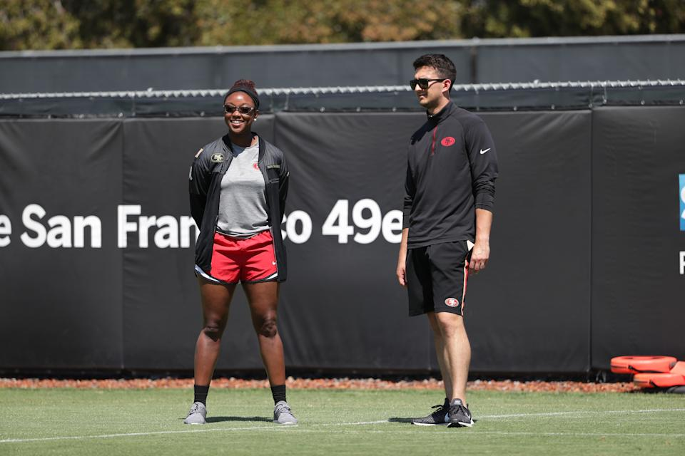 """49ers pro personnel analyst Salli Clavelle: """"I always tell women, you can do whatever you want. You just have to take that same focus and passion you've given everything else and apply it to football."""" (Photo courtesy of the San Francisco 49ers)"""