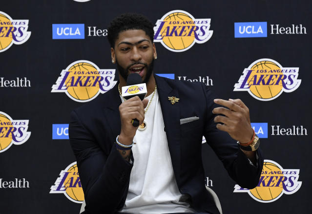 EL SEGUNDO, CA - JULY 13: Anthony Davis explains how he found out about the Los Angeles Lakers trade on Instagram during a news conference where he was introduced as the newest player of the Los Angeles Lakers at UCLA Health Training Center on July 13, 2019 in El Segundo, California. (Photo by Kevork Djansezian/Getty Images)