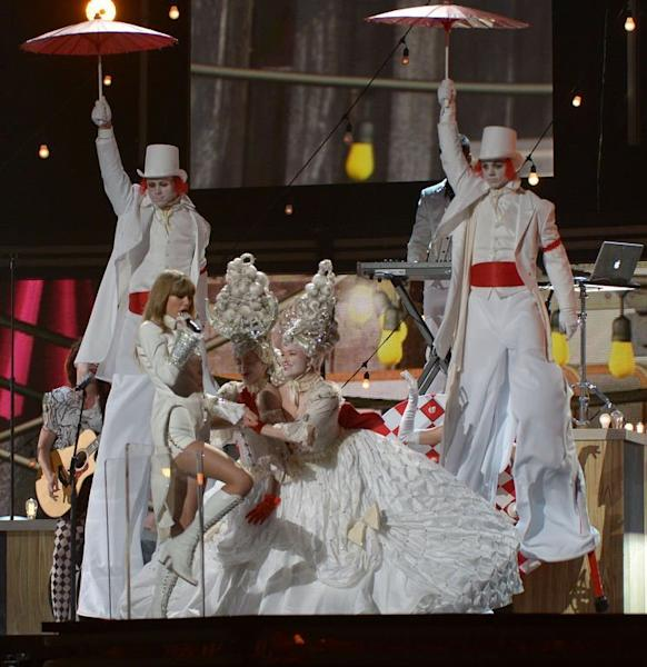 Taylor Swift performs at the Staples Center during the 55th Grammy Awards in Los Angeles, California, February 10, 2013
