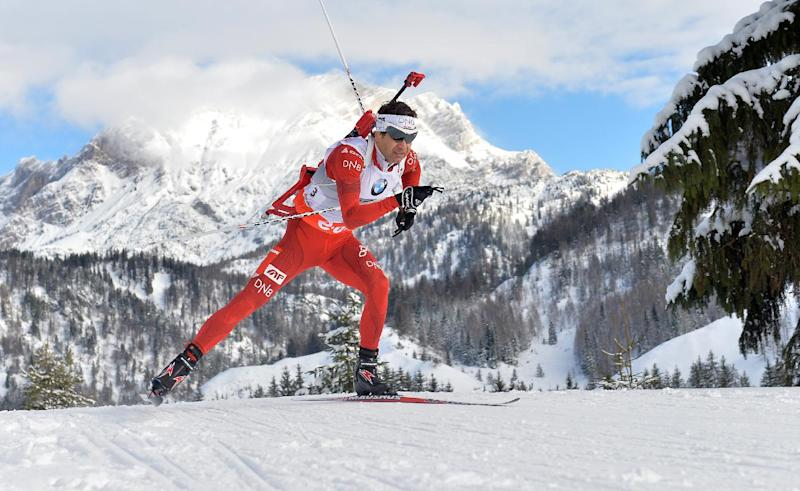 In this Dec. 8, 2013, file photo, Norway's Ole Einar Bjoerndalen competes during the men's 12.5 km pursuit race at the biathlon World Cup competition in Hochfilzen, Austria. With the help of Bjoerndalen, who starts in his sixth Olympics, Norway is aiming to top the biathlon medal table in Sochi again as four years ago