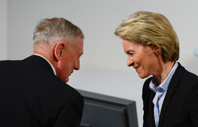 """US Defense Secretary James Mattis (L), pictured with German Defence Minister Ursula von der Leyen, said that the bond between Europe and America is the """"strongest bulwark"""" against instability and violence at the Munich Security Conference (AFP Photo/THOMAS KIENZLE)"""