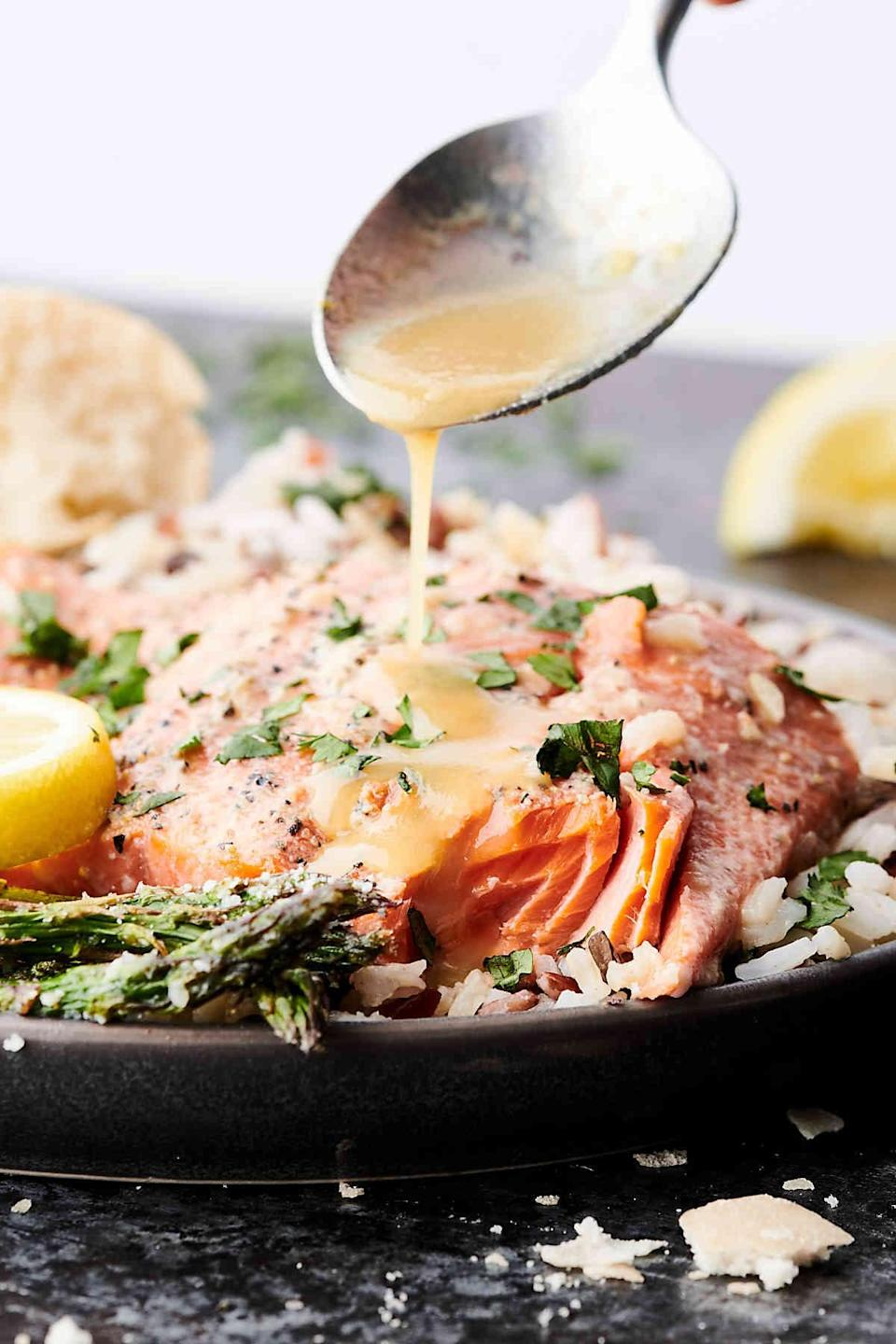 """<p>You can't go wrong with salmon on the menu, and this recipe is a dinnertime winner. You just need a handful of ingredients to concoct this easy meal, and before you know it, you'll be ready for more. Tweak the recipe for two people by noting the number two where it says """"yield.""""</p> <p><strong>Get the recipe:</strong> <a href=""""https://showmetheyummy.com/easy-lemon-honey-baked-salmon-recipe/#recipe"""" class=""""link rapid-noclick-resp"""" rel=""""nofollow noopener"""" target=""""_blank"""" data-ylk=""""slk:lemon honey baked salmon"""">lemon honey baked salmon</a></p>"""