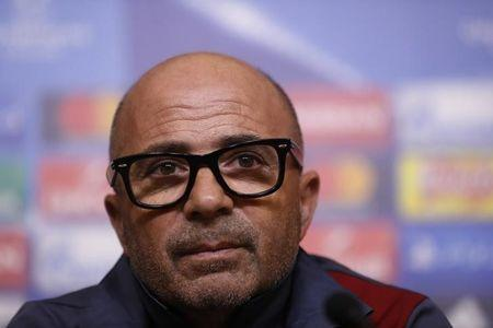 Sevilla coach Jorge Sampaoli during the press conference