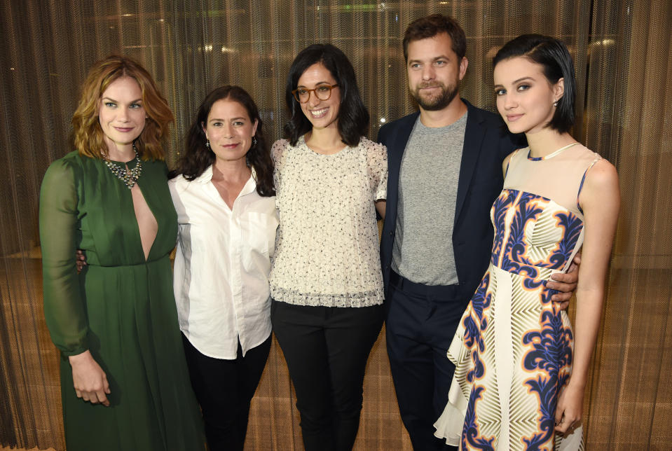 """Sarah Treem, center, executive producer of the Showtime series """"The Affair,"""" poses with cast members, left to right, Ruth Wilson, Maura Tierney, Joshua Jackson and Julia Goldani Telles at a screening and panel discussion for the show at the Samuel Goldwyn Theatre on Wednesday, May 6, 2015, in Beverly Hills, Calif. (Photo by Chris Pizzello/Invision/AP)"""