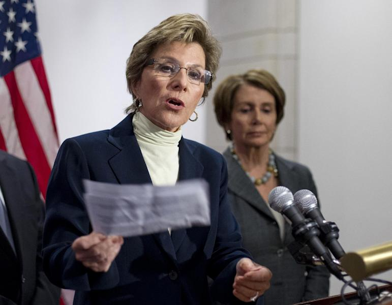 Senate Environment and Public Works Committee Chair Sen. Barbara Boxer, D-Calif., left, accompanied by House Minority Leader Nancy Pelosi of Calif., speaks during a news conference on Capitol Hill in Washington, Thursday, March 22, 2012, to urge the Republican leadership to take up the bipartisan Senate transportation bill. (AP Photo/J. Scott Applewhite)