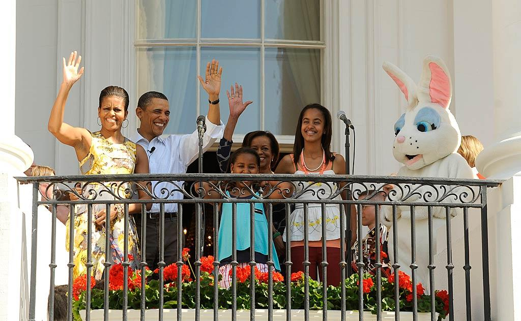 President and Mrs. Obama kicked off the 133rd annual White House Easter Egg Roll the day after the holiday with daughters Sasha and Malia, the first lady's mother, Marian Robinson, and, of course, the Easter Bunny! The event attracted nearly 30,000 people, including Kelly Ripa, Kimora Lee Simmons, and their families, and featured a performance by Willow Smith. (04/25/2011)
