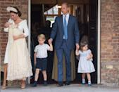 <p>Kate Middleton looked adoringly at Prince Louis while leaving his christening ceremony alongside the rest of her family.</p>