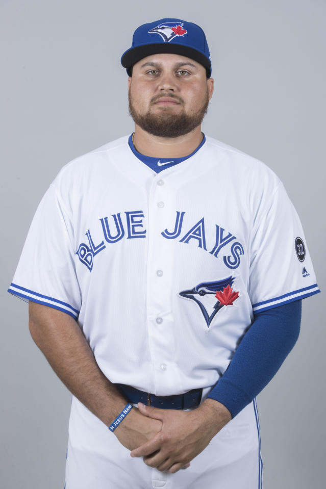 This is a 2018 photo of Rowdy Tellez of the Toronto Blue Jays baseball team. This image reflects the 2018 active roster as of Thursday, Feb. 22, when this image was taken. (AP Photo/John Minchillo)