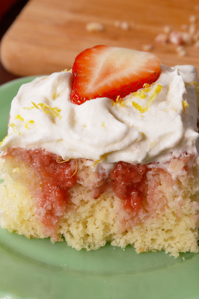 """<p>Summer is beckoning.</p><p>Get the recipe from <a rel=""""nofollow"""" href=""""https://www.delish.com/cooking/recipe-ideas/recipes/a58357/strawberries-n-cream-poke-cake-recipe/"""">Delish</a>.</p><p><strong><em>BUY NOW: 9x13 Cake Pans, $17.95, <a rel=""""nofollow"""" href=""""https://www.amazon.com/Wilton-Recipe-Right-Oblong-2-Pack/dp/B00VEABJIM/?tag=delish_auto-append-20&ascsubtag=[artid