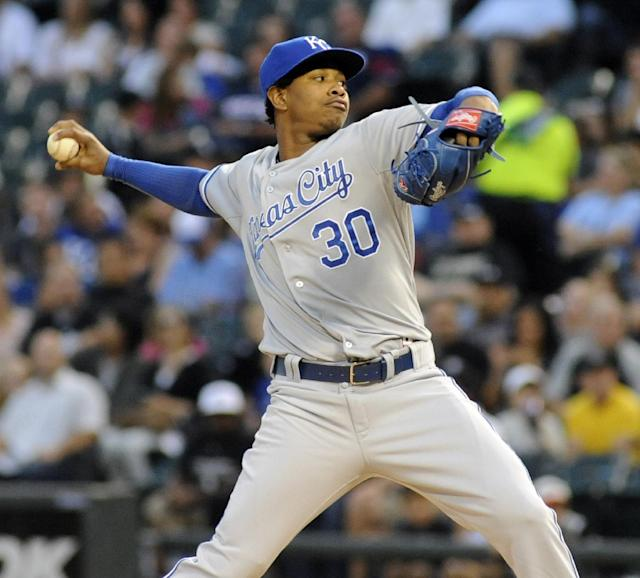 Kansas City Royals pitcher Yordano Ventura winds up during the first inning of a baseball game against the Chicago White Sox on Saturday, Sept. 28, 2013, in Chicago. (AP Photo/Joe Raymond)