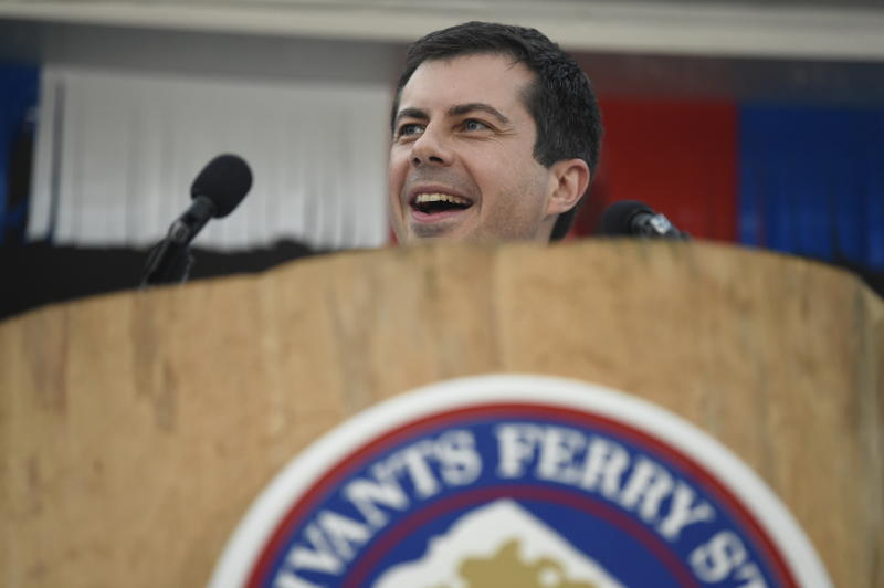 Democratic presidential candidate and South Bend, Indiana, Mayor Pete Buttigieg speaks at the Galivants Ferry Stump on Monday, Sept. 16, 2019, in Galivants Ferry, S.C. (AP Photo/Meg Kinnard)