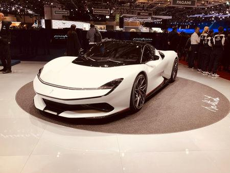 "FILE PHOTO: Automobili Pininfarina's ""Battista"" electric hypercar is pictured at the Geneva Motor Show, in Geneva, Switzerland March 5, 2019. REUTERS/Edward Taylor"